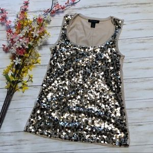 White House Black Market Gold Beige Sequin Tank
